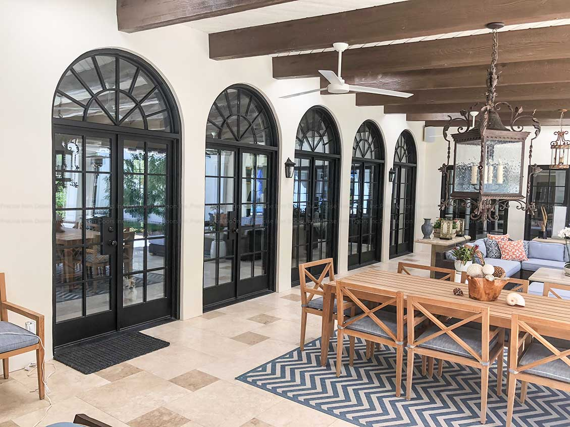 Custom French Iron Doors With Round Top Transom