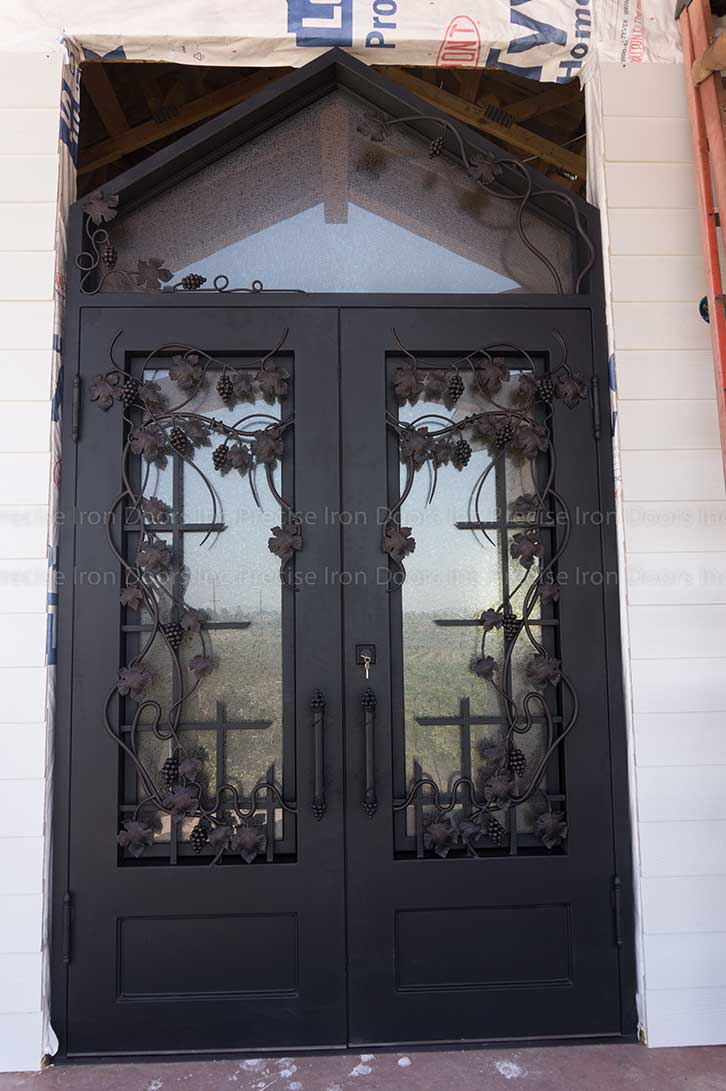 Custom Decorative Iron Exterior Doors With Transom