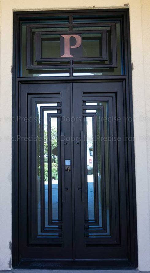 modern wrought iron double entry doors