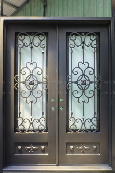 Square Top Double Iron Entry Doors