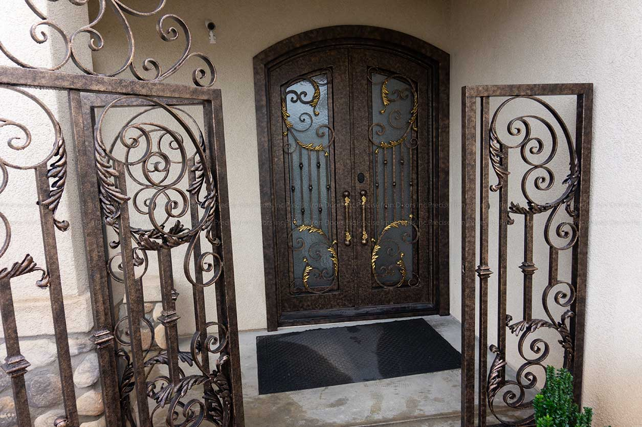 Decorative Square Top Iron Entry Doors