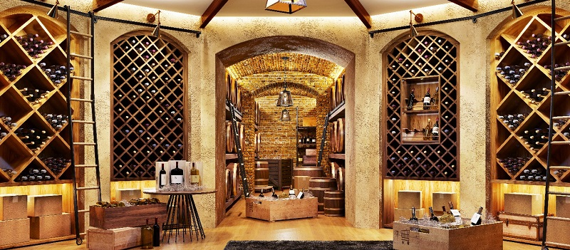 Wine cellar with bottles on wooden shelves