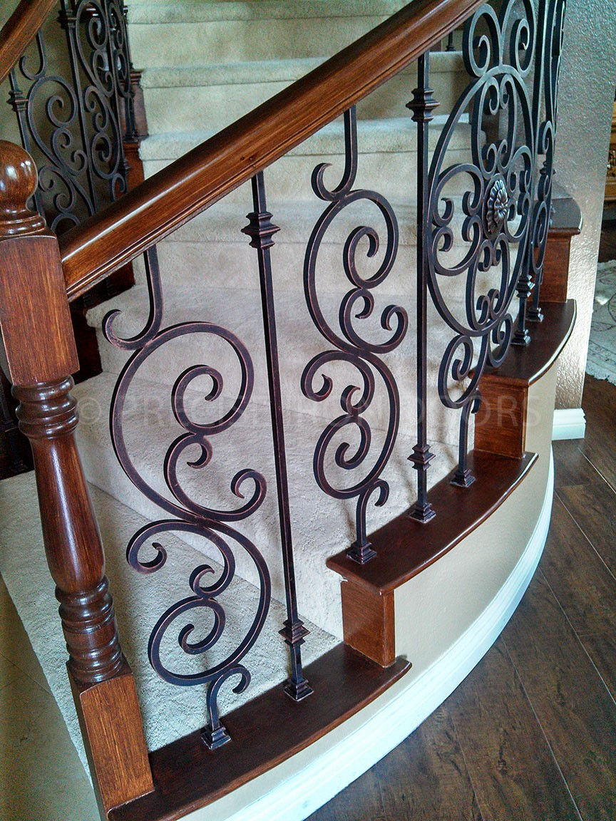 Iron and Wood Staircase Railing - Copy