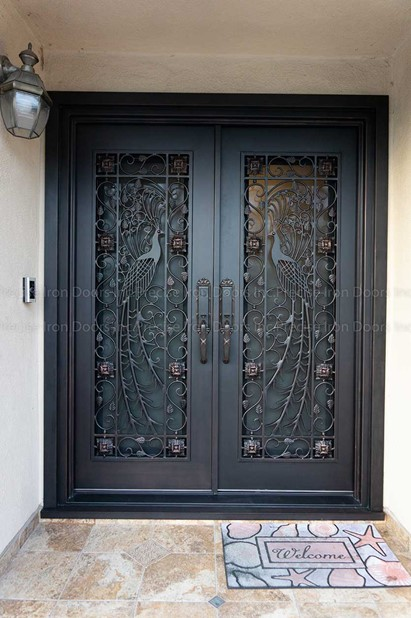 Custom Wrought Iron Double Entry Doors - Peacock Design