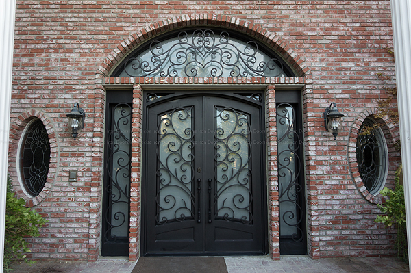 Wrought Iron Scrollwork Double Entry Exterior Doors
