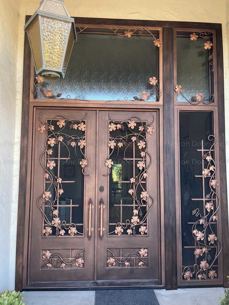 double entry metal door with decorative grille