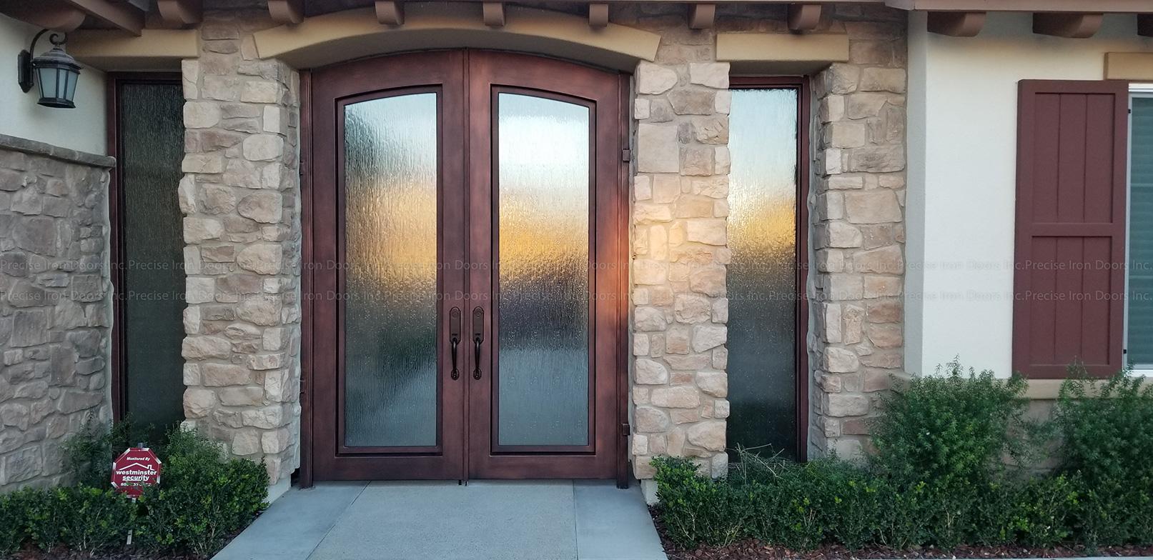 Custom Modern Steel Eyebrow Top Double Doors with Glass Panel